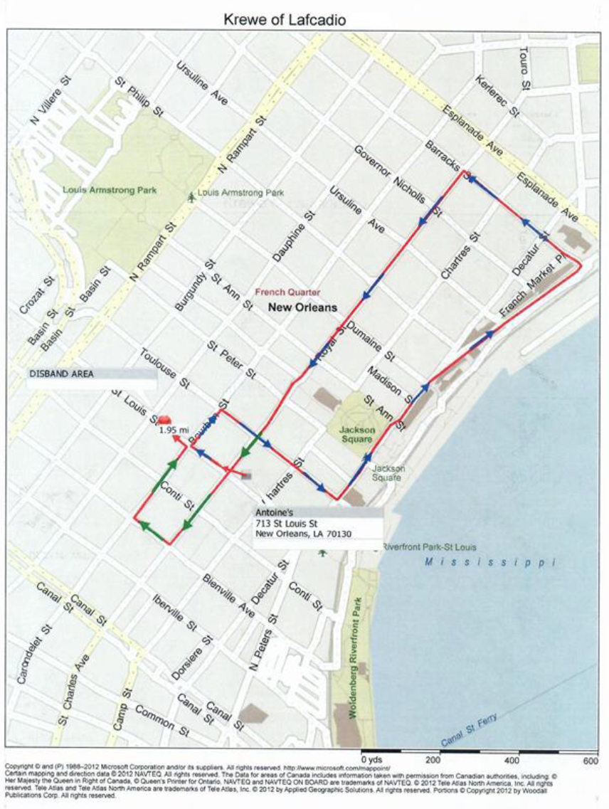 parade route for the krewe of lafcadio